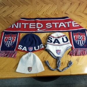 Nike US Soccer Hats and Scarf Lot